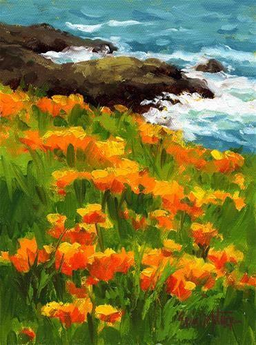 Gold Flowers and Whitewater - Original Fine Art for Sale - � Erin Dertner