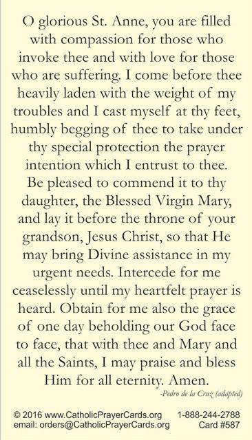 Novena to St. Anne Prayer Card