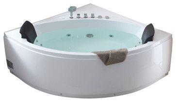 EAGO AM200 5' Rounded Modern Double Seat Corner Whirlpool Bath Tub with Fix - transitional - Bathtubs - Blue Bath