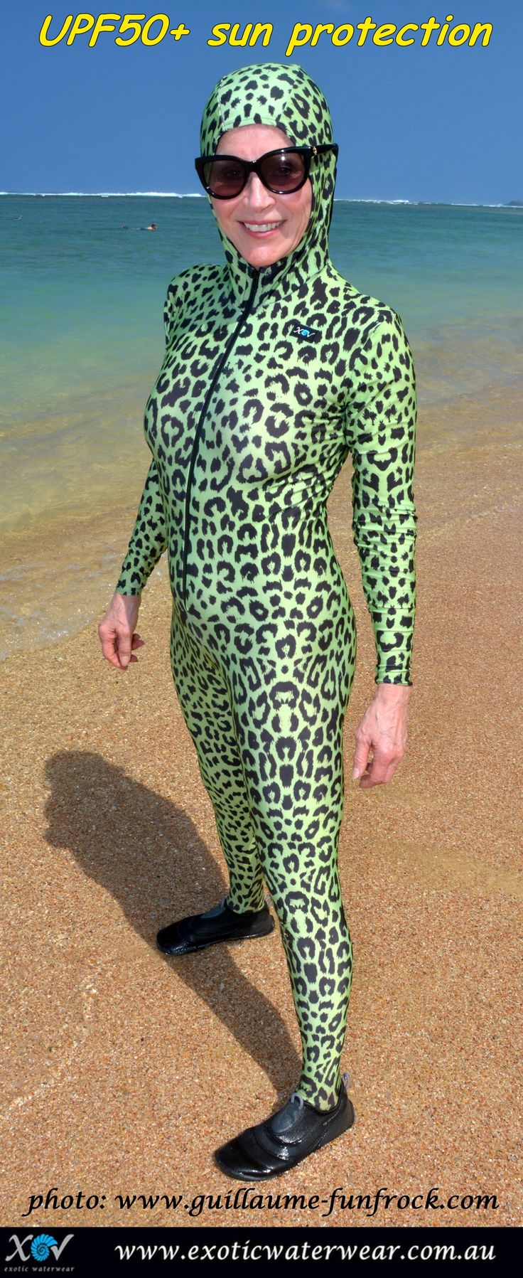 Melanoma survivor still enjoys the sun in style! www.exoticwaterwear.com.au #stingersuit
