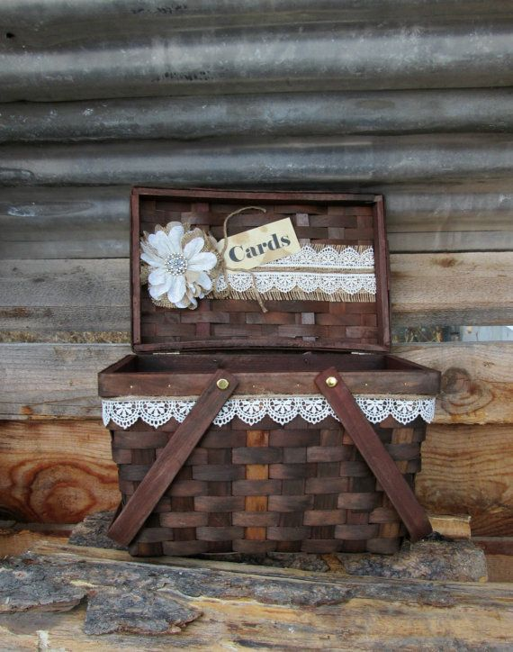 Wedding Card Box Holder Rustic Basket Picnic Burlap Gift Table By My Montana Homestead
