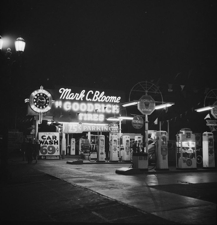 The Mark C. Bloome gasoline and tire station, located at the southwest corner of Sunset and Gower across from the Hollywood Palladium (April 1942). It was in business there well into the 1970s.