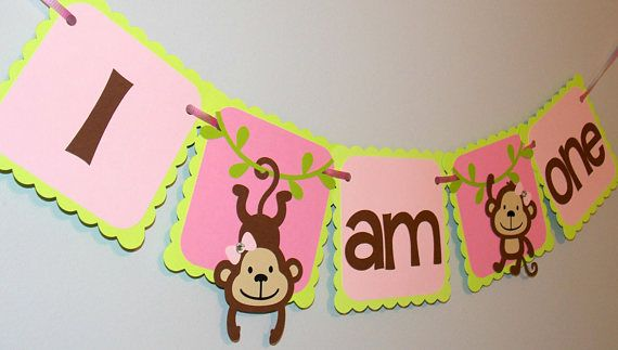 Check out this item in my Etsy shop https://www.etsy.com/ca/listing/560907369/girl-monkey-highchair-banner-pink-lime