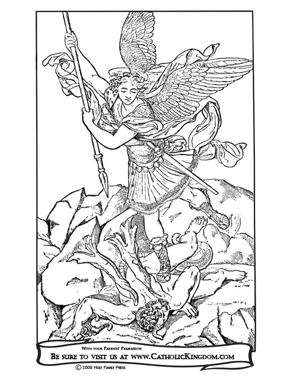 Archangel Michael Catholic Coloring Page. The feast of St. Michael ...