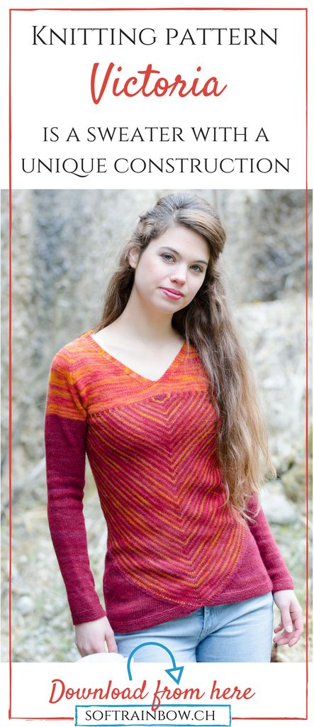 Victoria - Sweater knitting pattern - This sweater features a unique construction. First a striped triangular shawl is knitted then converted into a pullover. Great opportunity for use hand dyed yarns. Only for advanced knitters!