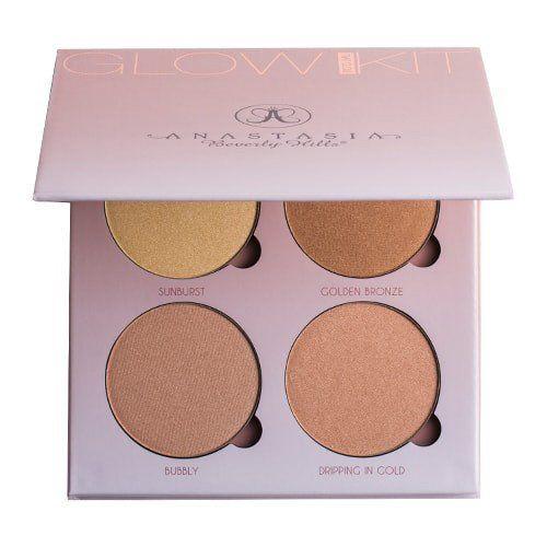 ABH Glow Kit Powder Highlighter THAT GLOW Palette Face Bronzer Face Blusher Makeup set in Box SIZE: 4*7.4g/0.26oz-each SHADES : THAT GLOW: Sunburst, Golden Bronze, Bubbly, Dipping in Gold That Glow Ki