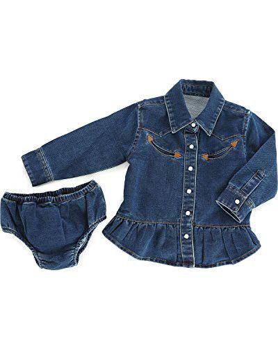 8dfd0f6291c7 Wrangler Infant-Girls  Blue Denim Western Shirt and Bloomer Set ...