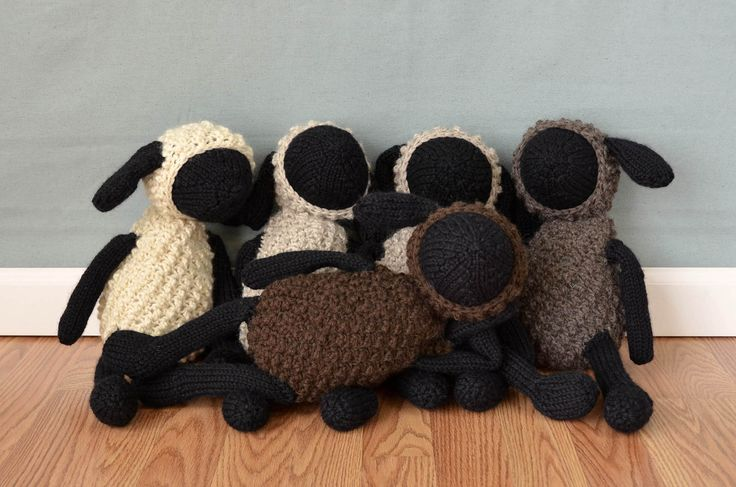 Free Pattern Friday! Sheldon Sheep and Friends are knit and crochet out of Universal Yarn Deluxe Chunky Naturals.  Cute stuffed animals!