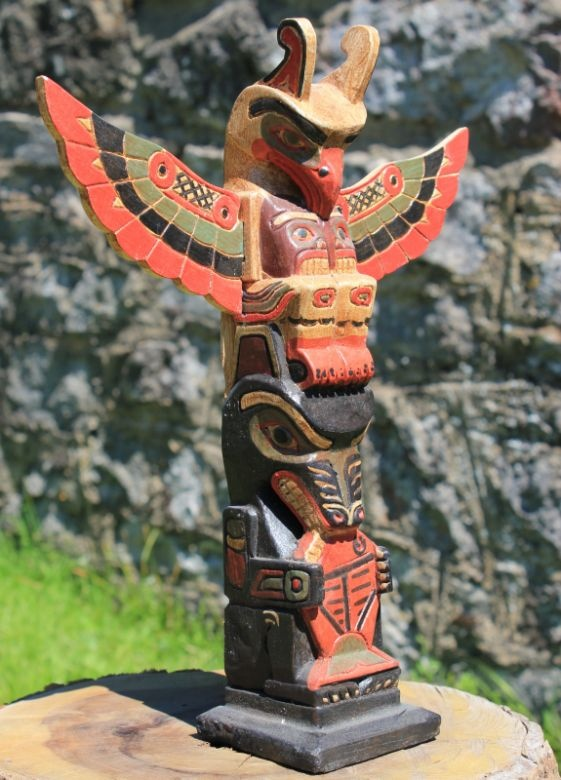 American Indian Wooden Tribal Totem Pole 30cm