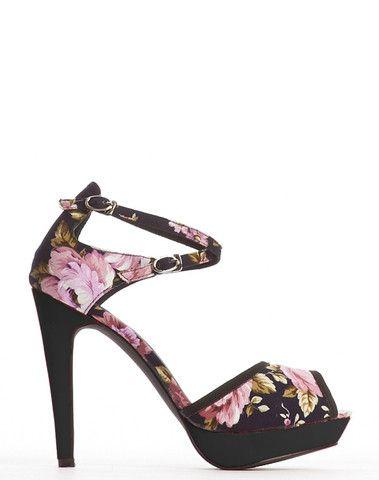 Dina Double Ankle Strap Platform - Floral – Cri de Coeur