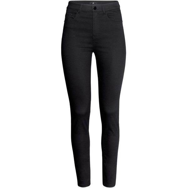 H&M Trousers High waist ($24) ❤ liked on Polyvore featuring pants, jeans, bottoms, calça, trousers, black, black pants, high waisted black pants, h&m and highwaisted pants
