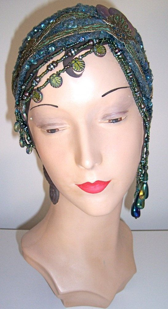 20s Sequined Beaded Flapper Mermaid Headpiece Headband Turban.