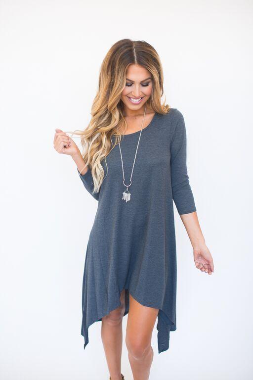 High-Low Tunic Dress- Charcoal - Dottie Couture Boutique