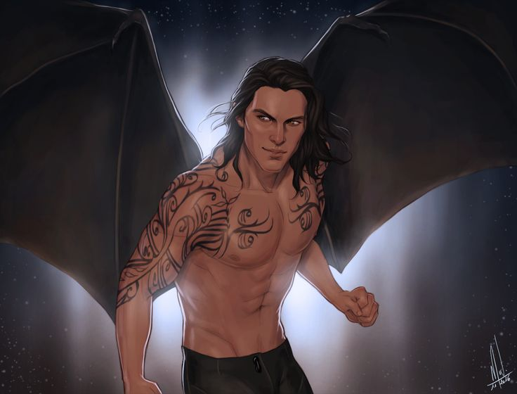 Cassian! I just wanted to celebrate him and his precious wings. It was also a good excuse to imagine another design for the Illyrian tattoo (which is the excuse for the lack of clothes)