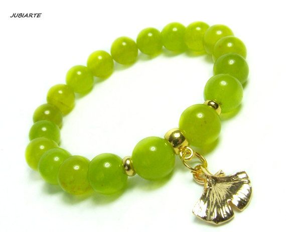 JUICY GREEN JADE & Ginkgo Gemstone bracelet Stretch by JUBIARTE