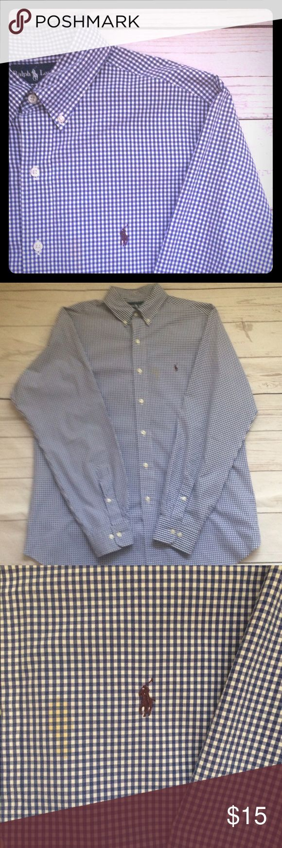 "🎄SALE🎄Polo•Ralph•Lauren•S/M•Shirt• 🎄SALE🎄no offers will be accepted or further reductions will be taken 🎄men's  long sleeve button front 100% cotton oxford shirt. Size 16-L Classic Fit per tag:measurements below. Signature pony at chest. No fraying at cuffs or collar & collar. Stain on shirt as pictured•  Please refer to pictures & measurements.  Chest: 25"" Length: 31"" Sleeve: 35"" Shoulder: 19"" Polo by Ralph Lauren Shirts Casual Button Down Shirts"