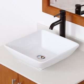 Shop for Elite High Temperature Grade A Ceramic Square Design Bathroom Sink and Oil Rubbed Bronze Faucet Combo. Get free shipping at Overstock.com - Your Online Home Improvement Outlet Store! Get 5% in rewards with Club O! - 15690543