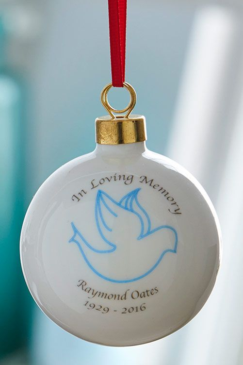 A lovely way to remember someone special this Christmas. Bauble comes supplied with a ribbon ready to hang straight onto the tree. Colour of Ribbon may vary. H6 x W6 x D6cm.