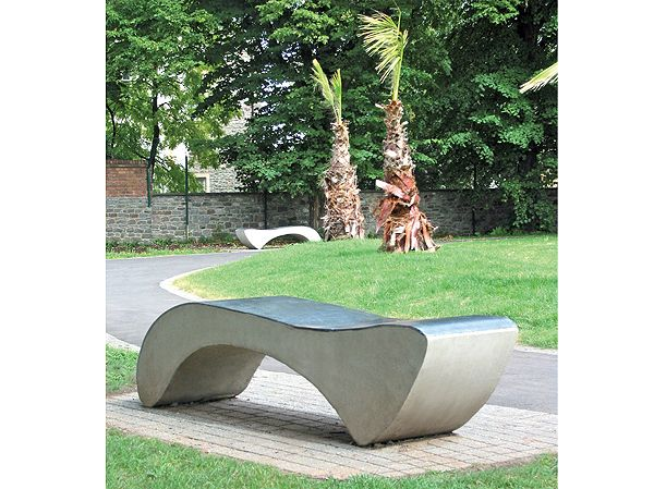 Amesbury Grey Cast Stone Bench with GRC Polished Top