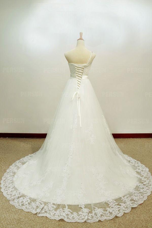#Monospalla #Gioiellini #Organza #Abiti Da #Sposa #Lunghi di Alta Qualità - Persunit.com