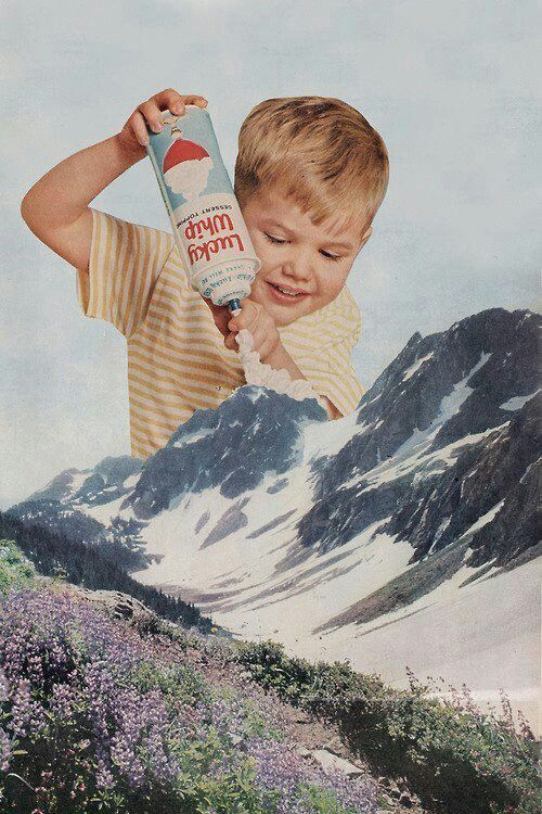 """This photomontage would be a great advertisement for Ready Whip. Just as the clouds that hover above the mountains act as a natural """"topping"""" that looks light and fluffy, so does Ready Whip on any kind of dessert!"""