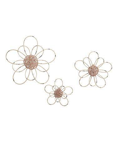 Loving this Metal Flower Wall Art - Set of Three on #zulily! #zulilyfinds