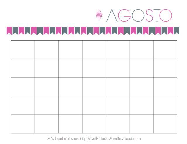 Calendarios Personalizables: Calendario de Agosto