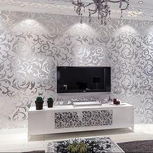 Papel pintado del Damasco de la hoja de plata scroll pared de fondo del rollo de papel de vinilo papel pintado del damasco dormitorio, living room decor