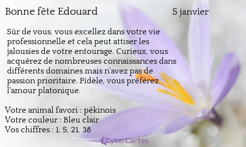 Carte bonne fête Edouard