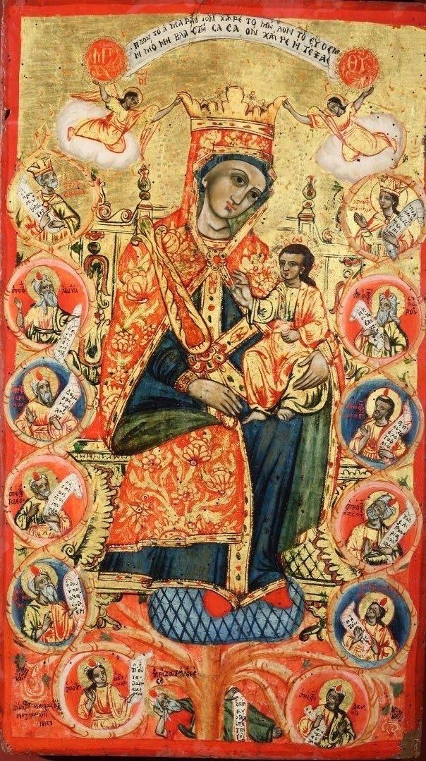 """Madre di Dio """"Albero di Jesse"""", Nicola Pozenali, Albania inizii XIX sec."""