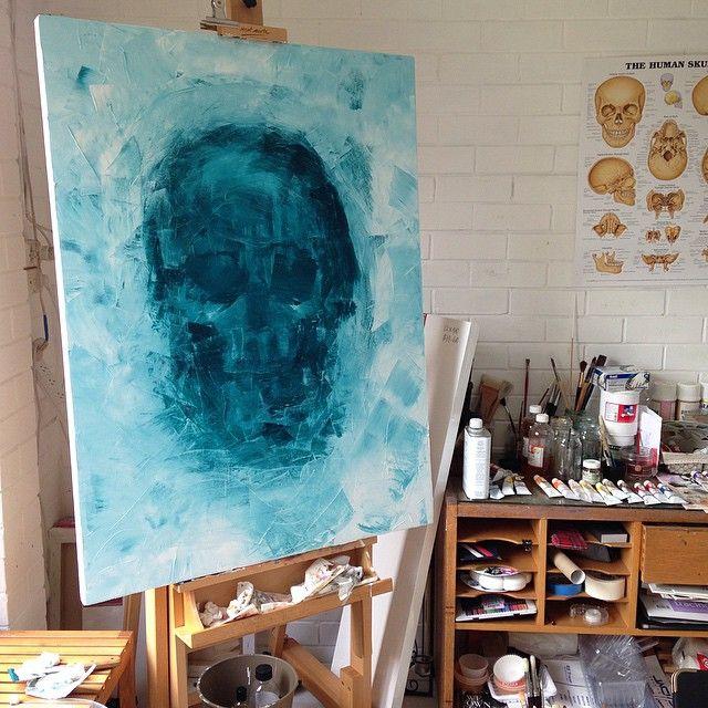 SARAH / skull oil knife painting - sold - art studio
