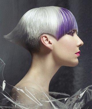 A Short Blonde Straight Choppy Coloured Multi Tonal Avant Garde Violet Womens Haircut Very Hairstyle By Kronos Hair