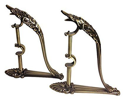 Double Curtain Rod Brackets (Set of 2) Vintage Design