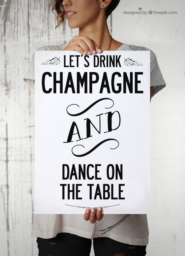 LET'S DRINK CHAMPAGNE...-  Typografisk poster. (A3 poster 29.7 x 42 cm)
