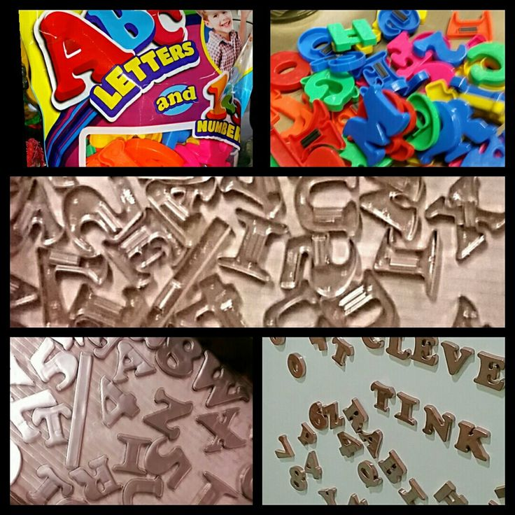 Kids Magnetic letters and s can of rose gold spray paint
