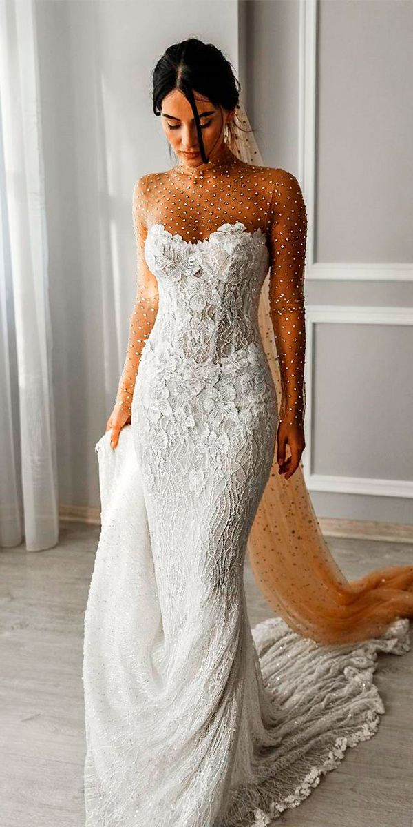 36 Totally Unique Fashion Forward Wedding Dresses ❤ fashion forward wedding dresses strapless sweetheart neckline sheath lace with train galia lahav ❤ See more: http://www.weddingforward.com/fashion-forward-wedding-dresses/ #weddingforward #wedding #bride