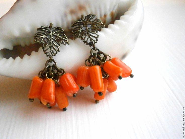 """Купить """"Оранжевое настроение"""" -серьги из коралла. - оранжевый, Оранжевые серьги, оранжевое настроение, серьги"""