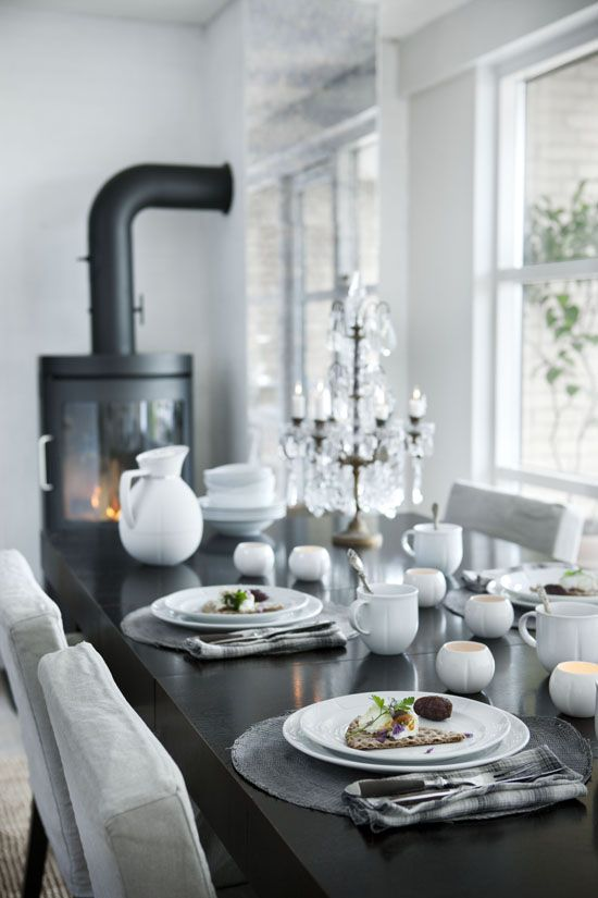 #Scandinavian-style #dining.  Black and white with metallic tones.