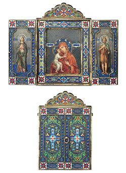 A SILVER-GILT AND CLOISONNÉ ENAMEL TRIPTYCH ICON  MARKED P. OVCHINNIKOV WITH THE IMPERIAL WARRANT, MOSCOW, 1875http://www.christies.com/