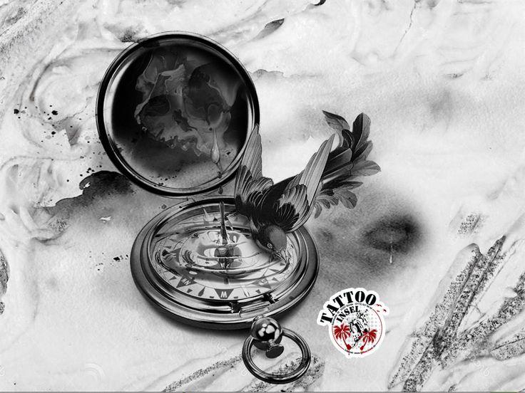 kompass vogel skull tattoo