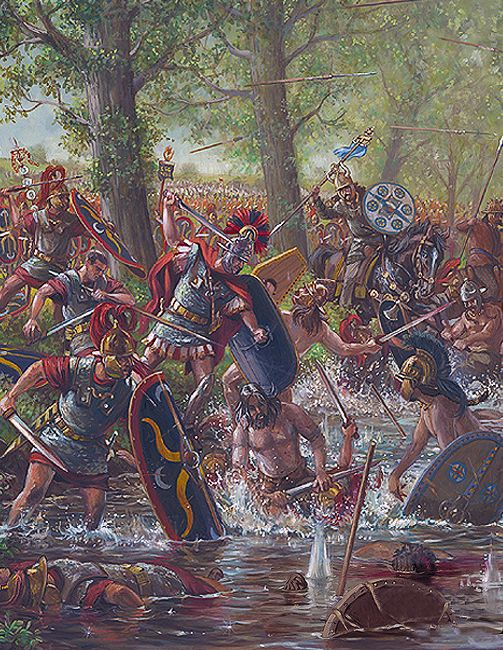 Centurion of VIII Roman Legion, leads a counterattack against the Belgae at the Battle of Sabis, 57 B.C. - art by Mark Churms