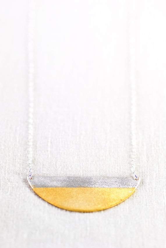 Nalu necklace gold dipped silver half moon by kealohajewelry