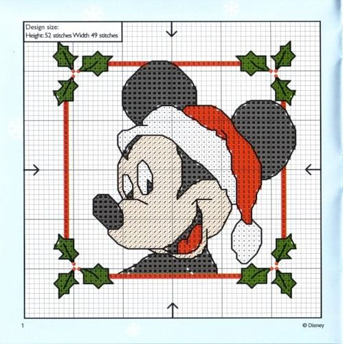 cross stitch christmas mickey mouse