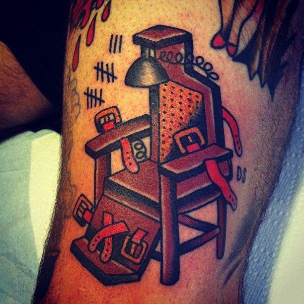 An american traditional style electric chair design // Dan Santoro Smith Street Tattoo Brooklyn, NY