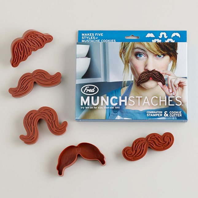 Make after dinner coffee and cookies a bit more fun with these combination mustache cookie cutters and stamps.