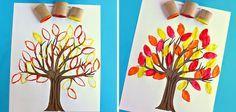 Manualidades con niños: árbol estampado #otoño #autumn #fall