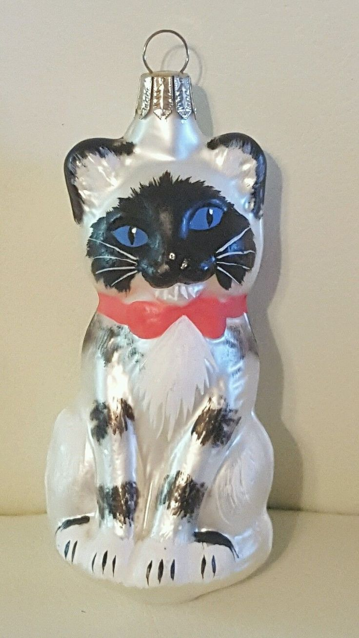 Glass cat ornaments - European Glass Cat Kitten Christmas Figural Ornament Made In Germany Ebay