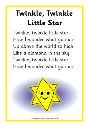I chose this Nursery rhyme as I loved singing it as a kid and doing the hand gestures and I also love singing it to my nieces and my daughter. This nursery rhyme to me is talking about the purpose and the description of a star. © Copyright SparkleBox Teacher Resources (UK) Ltd