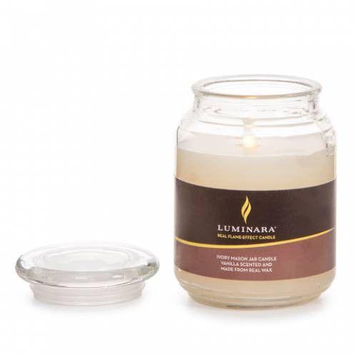 "Luminara® Flameless Candle - 3.5"" Diameter Mason Jar - Ivory Vanilla Scented"