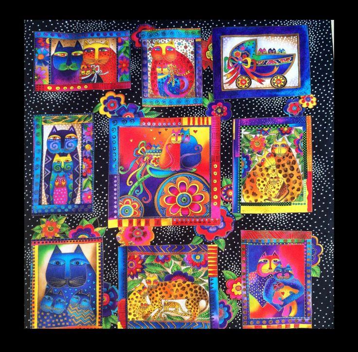 Laurel Burch cat fabric panel, Black Fanciful Felines panel